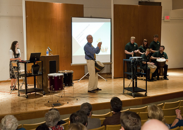 Stephen Dolle speaking on drumming and rhythm at Wright State University