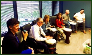 Drum circles aid productivity and stress reduction for employees at this area Orange County firm.