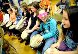 Drumming for Basketball.kids play at game